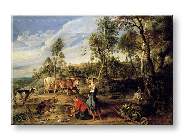 Vászonkép MILKMAIDS WITH CATTLE IN A LANDCAPE - Peter Paul Rubens REP154
