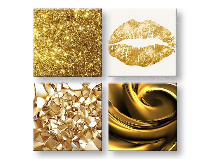 Kedvezmény 40% Vászonkép Golden kiss 4 részes XOBKOL03E42 e778c06cae